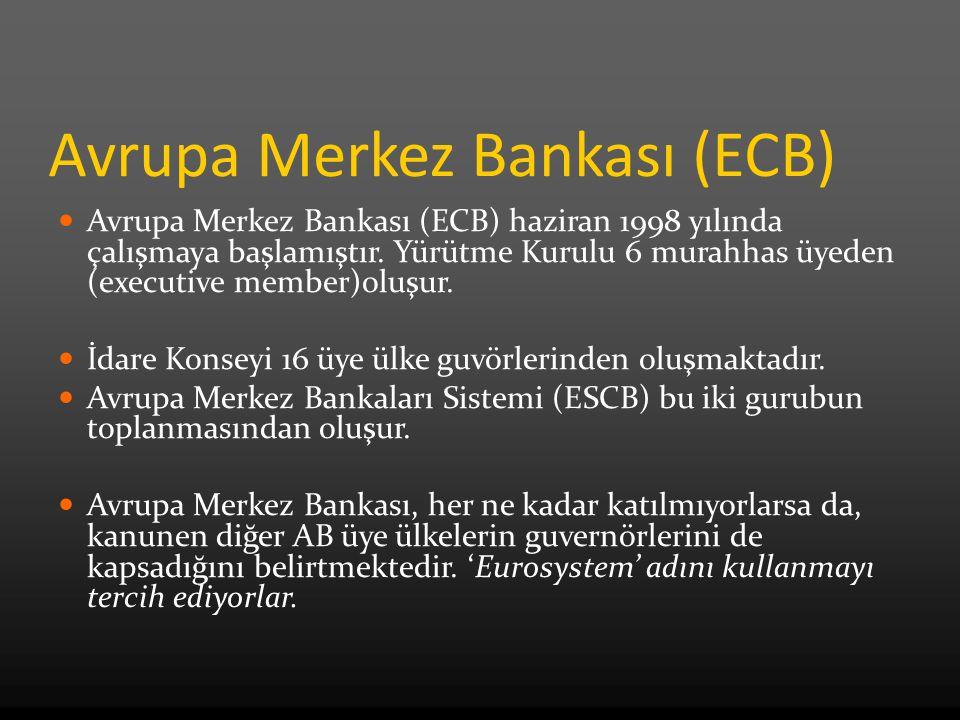 Avrupa Merkez Bankası (ECB) Avrupa Merkez Bankası (ECB) haziran 1998 yılında çalışmaya başlamıştır. Yürütme Kurulu 6 murahhas üyeden (executive member