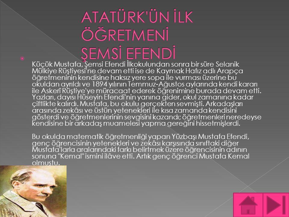  Küçük Mustafa, Şemsi Efendi İlkokulundan sonra bir süre Selanik Mülkiye Rüştiyesi'ne devam etti ise de Kaymak Hafız adlı Arapça öğretmeninin kendisi