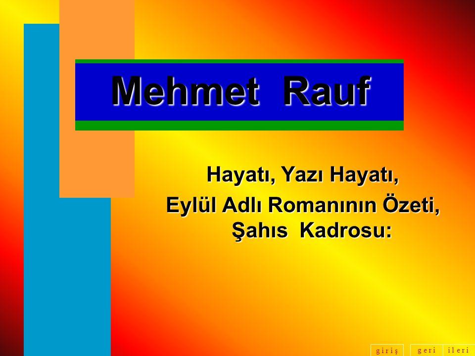 g e r ii l e r i g i r i ş Mehmet Rauf Eylül