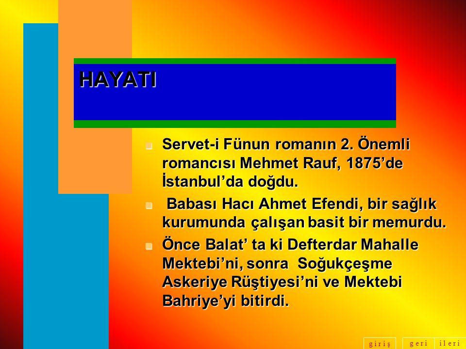 g e r ii l e r i g i r i ş Mehmet Rauf Hayatı, Yazı Hayatı, Eylül Adlı Romanının Özeti, Şahıs Kadrosu: