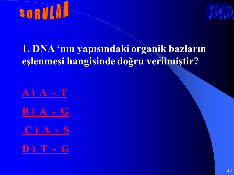 29 1. DNA 'nın yapısındaki organik bazların eşlenmesi hangisinde doğru verilmiştir? A ) A - T B ) A - G C ) A - S D ) T - G