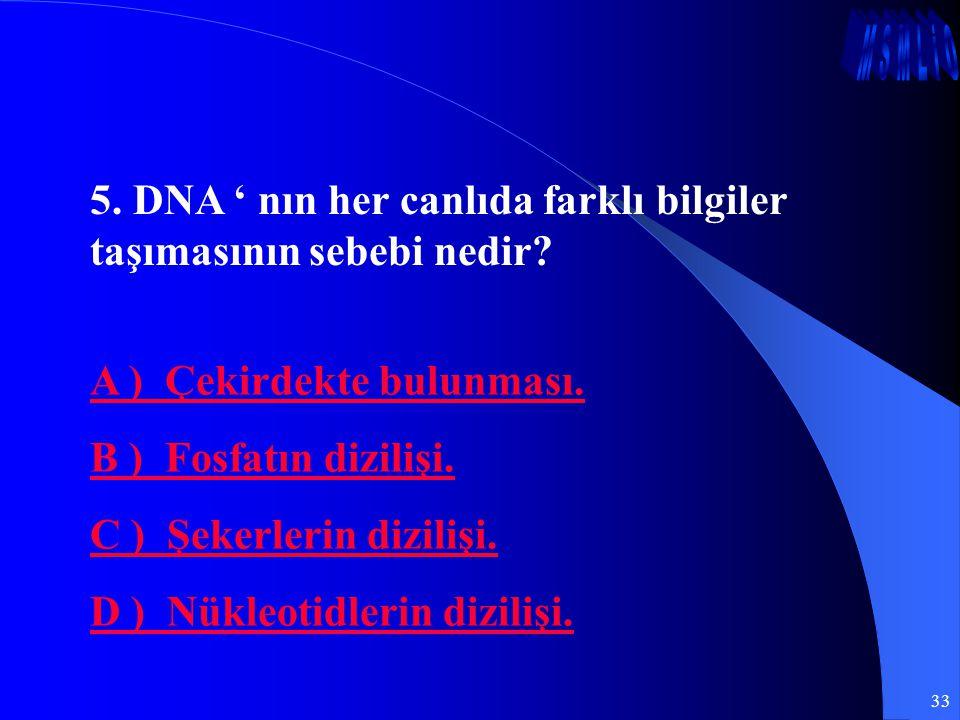 33 5. DNA ' nın her canlıda farklı bilgiler taşımasının sebebi nedir? A ) Çekirdekte bulunması. B ) Fosfatın dizilişi. C ) Şekerlerin dizilişi. D ) Nü