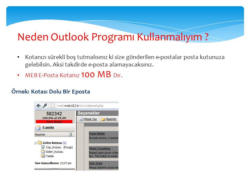 Neden Outlook Programı Kullanmalıyım ? Kotanızı sürekli boş tutmalısınız ki size gönderilen e-postalar posta kutunuza gelebilsin. Aksi takdirde e-post