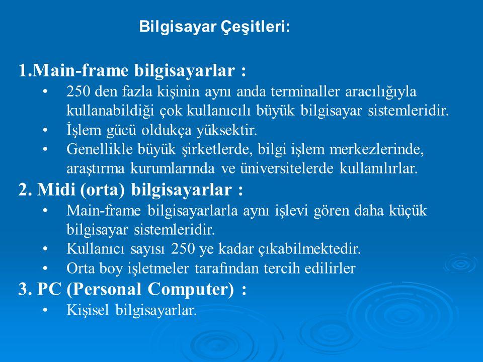 2) Yazılım  Bilgisayarın görevini yerine getirebilmesi için ona verilen tüm bilgiler ve komut listeleridir.Farklı tüm komut listelerine program denir