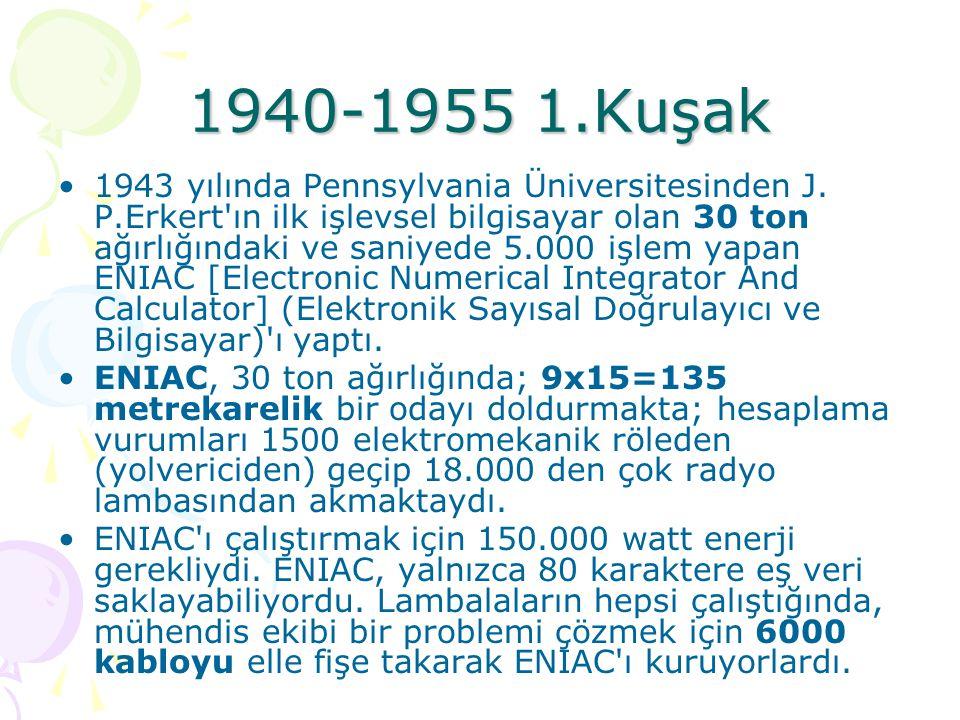 1940-1955 1.Kuşak –Vakum tüpleri, birbirleri ile baglanan kablolar ENIAC