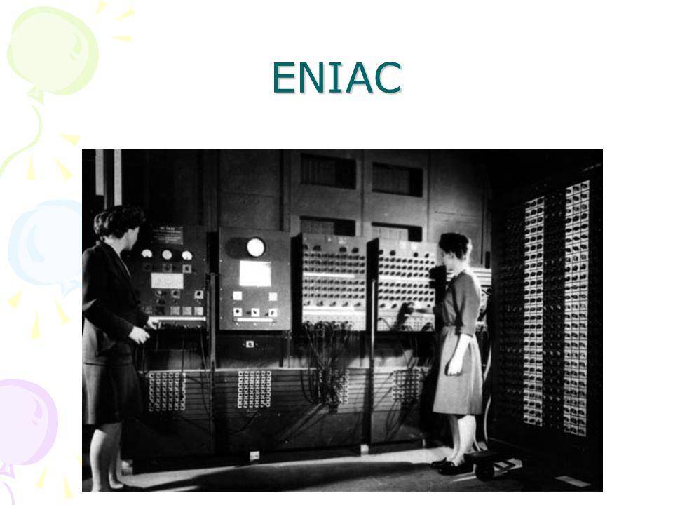 1940-1955 1.Kuşak 1943 yılında Pennsylvania Üniversitesinden J. P.Erkert'ın ilk işlevsel bilgisayar olan 30 ton ağırlığındaki ve saniyede 5.000 işlem