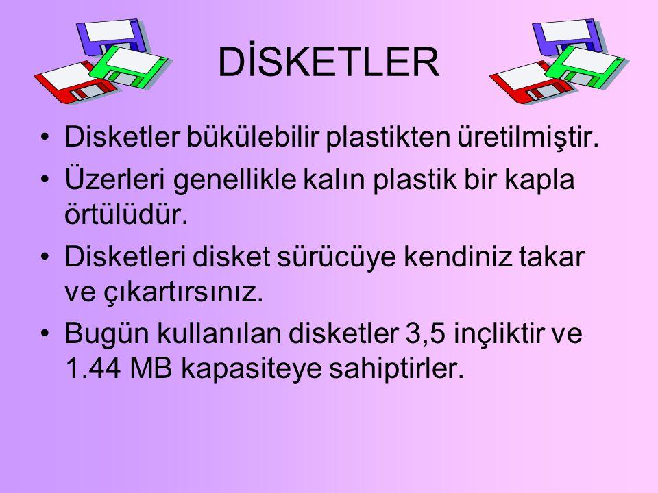 DİSKLER VE SÜRÜCÜLER Diskler:Bilgisayarınız kapandığında RAM'daki bilgiyi kaybetmemek için onu bir diske kaydetmelisiniz. Manyetik diskler:Üzeri manye