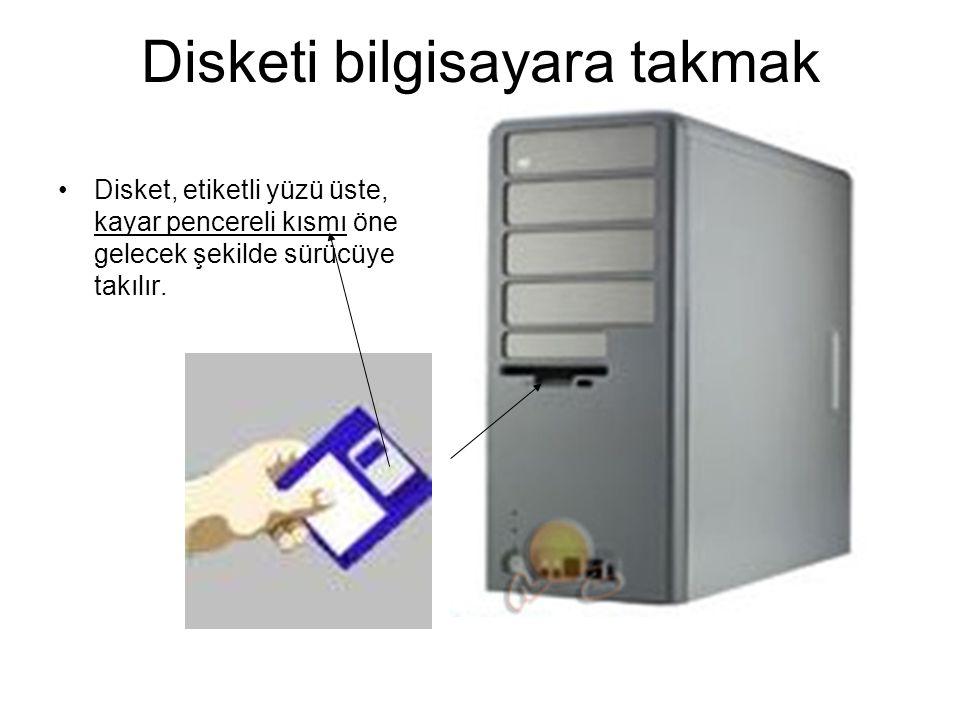 DİSKETLER Disketler bükülebilir plastikten üretilmiştir. Üzerleri genellikle kalın plastik bir kapla örtülüdür. Disketleri disket sürücüye kendiniz ta