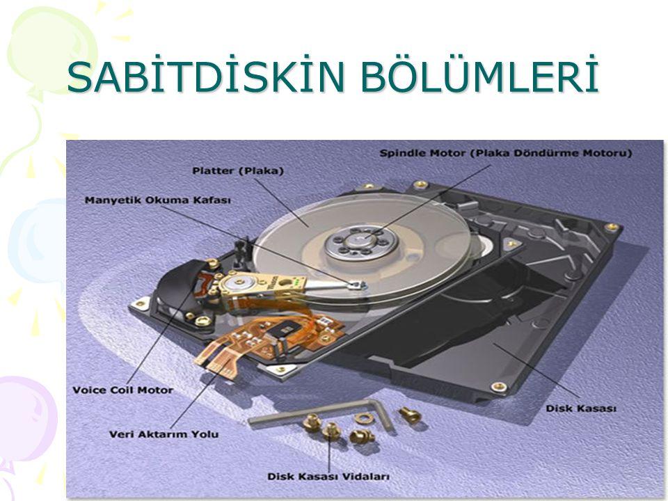 SABİT DİSKLER Sabit diskler metalden yapılmıştır. Bilgisayarın içine yerleştirilmişlerdir. Disketlerin yaptıklarının aynısını yaparlar. -Ancak; -Daha