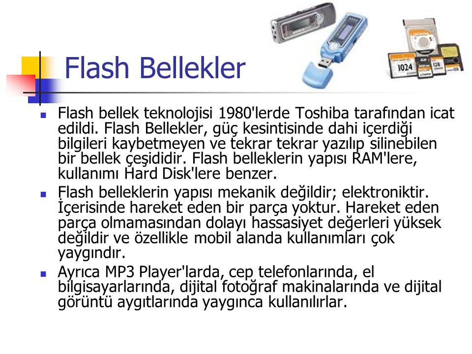 MANYETİK TEYPLER Diskler gibi,bantlarda manyetik demiroksitle kaplıdır. Bantlar disketlerden daha ucuzdur. Kullanımları daha yavaştır.