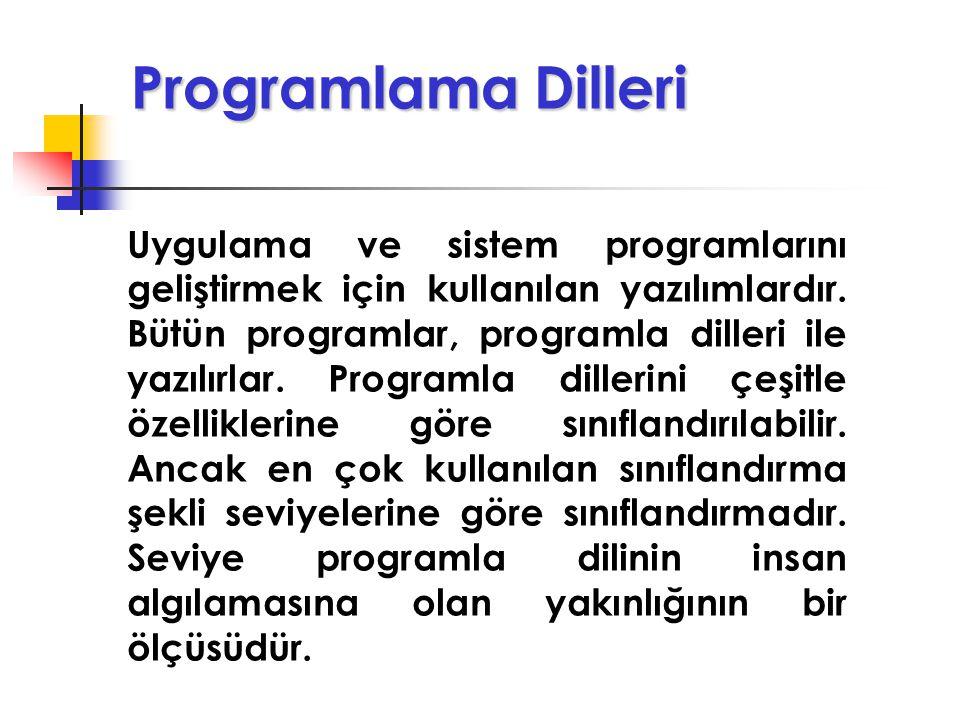 Uygulama Programları Programlama dillerinden bir tanesi kullanılarak belli bir uygulama için yazılan programlardır. Mesleki ve ticari yazılımlar LOGO,