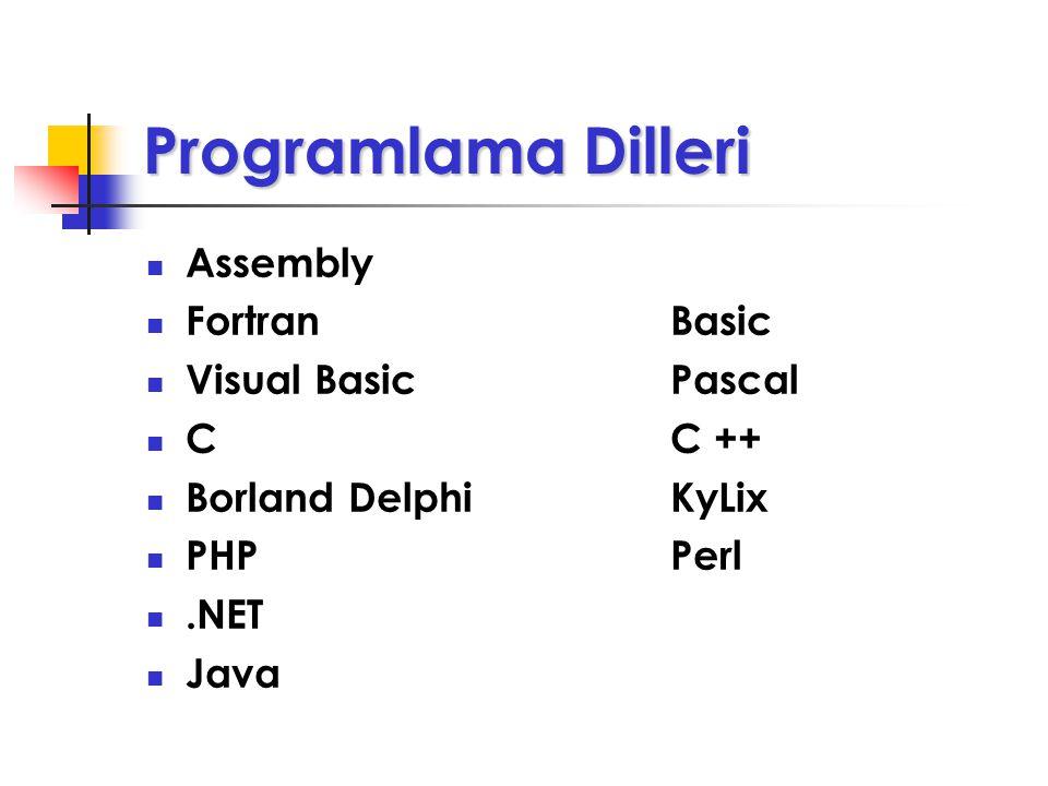 Programlama Dilleri Uygulama ve sistem programlarını geliştirmek için kullanılan yazılımlardır. Bütün programlar, programla dilleri ile yazılırlar. Pr