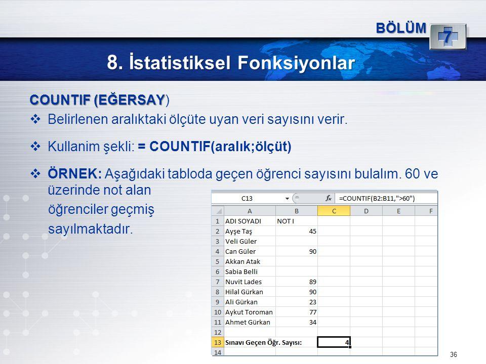 8. İstatistiksel Fonksiyonlar 36 BÖLÜM 7 COUNTIF (EĞERSAY COUNTIF (EĞERSAY)  Belirlenen aralıktaki ölçüte uyan veri sayısını verir.  Kullanim şekli: