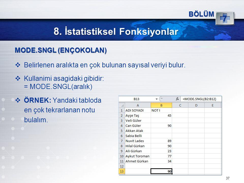 8. İstatistiksel Fonksiyonlar 37 BÖLÜM 7 MODE.SNGL (ENÇOKOLAN)  Belirlenen aralıkta en çok bulunan sayısal veriyi bulur.  Kullanimi asagidaki gibidi
