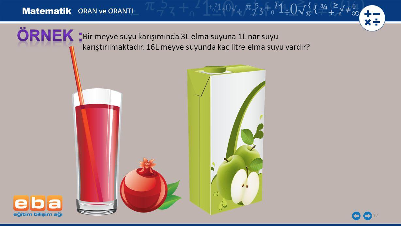 17 Bir meyve suyu karışımında 3L elma suyuna 1L nar suyu karıştırılmaktadır. 16L meyve suyunda kaç litre elma suyu vardır? ORAN ve ORANTI