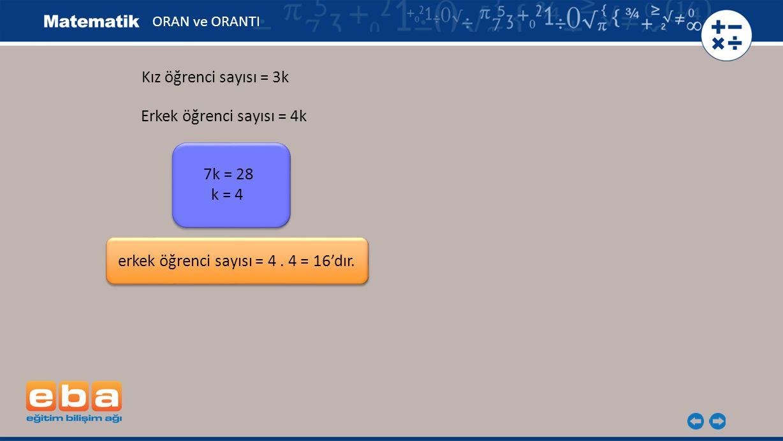 ORAN ve ORANTI Kız öğrenci sayısı = 3k 7k = 28 k = 4 erkek öğrenci sayısı = 4. 4 = 16'dır. Erkek öğrenci sayısı = 4k