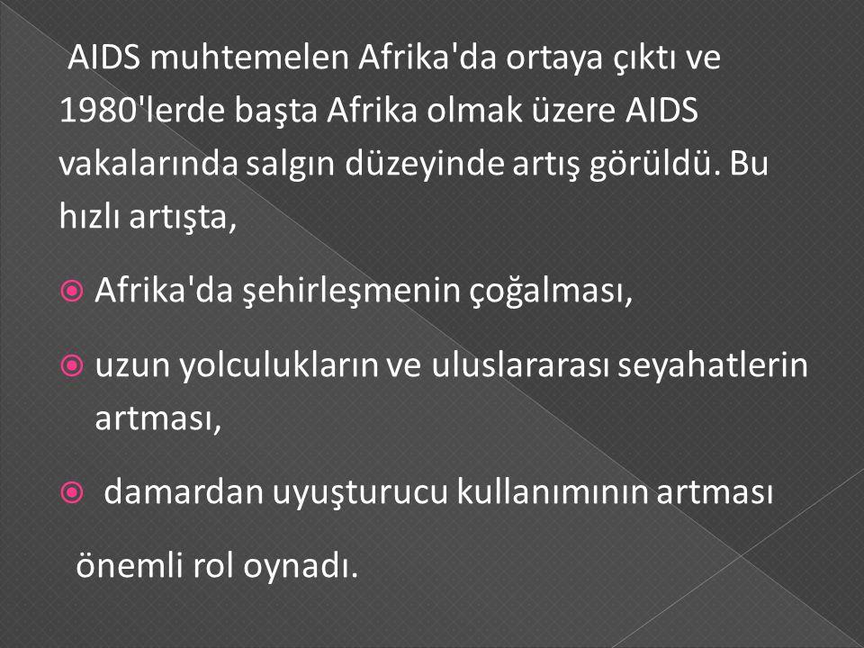 AIDS muhtemelen Afrika'da ortaya çıktı ve 1980'lerde başta Afrika olmak üzere AIDS vakalarında salgın düzeyinde artış görüldü. Bu hızlı artışta,  Afr