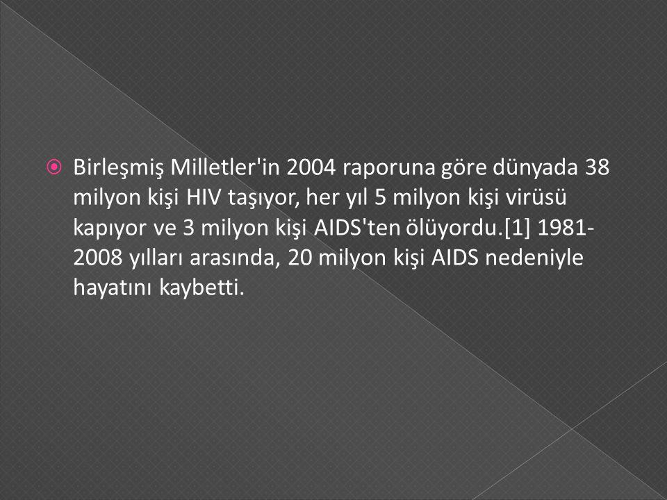  Birleşmiş Milletler'in 2004 raporuna göre dünyada 38 milyon kişi HIV taşıyor, her yıl 5 milyon kişi virüsü kapıyor ve 3 milyon kişi AIDS'ten ölüyord