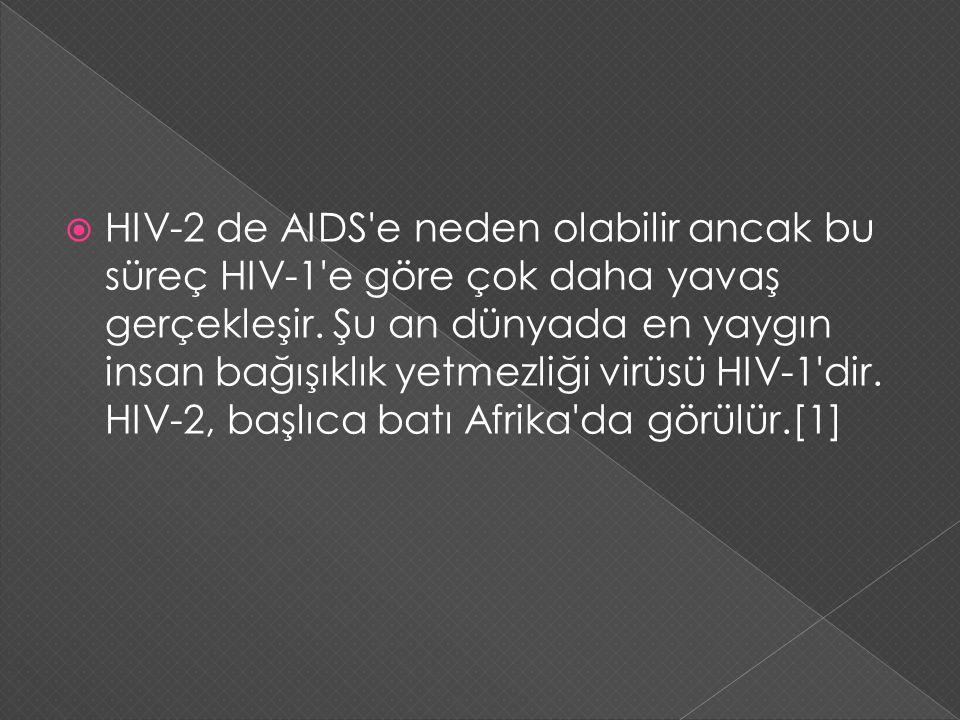  HIV-2 de AIDS'e neden olabilir ancak bu süreç HIV-1'e göre çok daha yavaş gerçekleşir. Şu an dünyada en yaygın insan bağışıklık yetmezliği virüsü HI