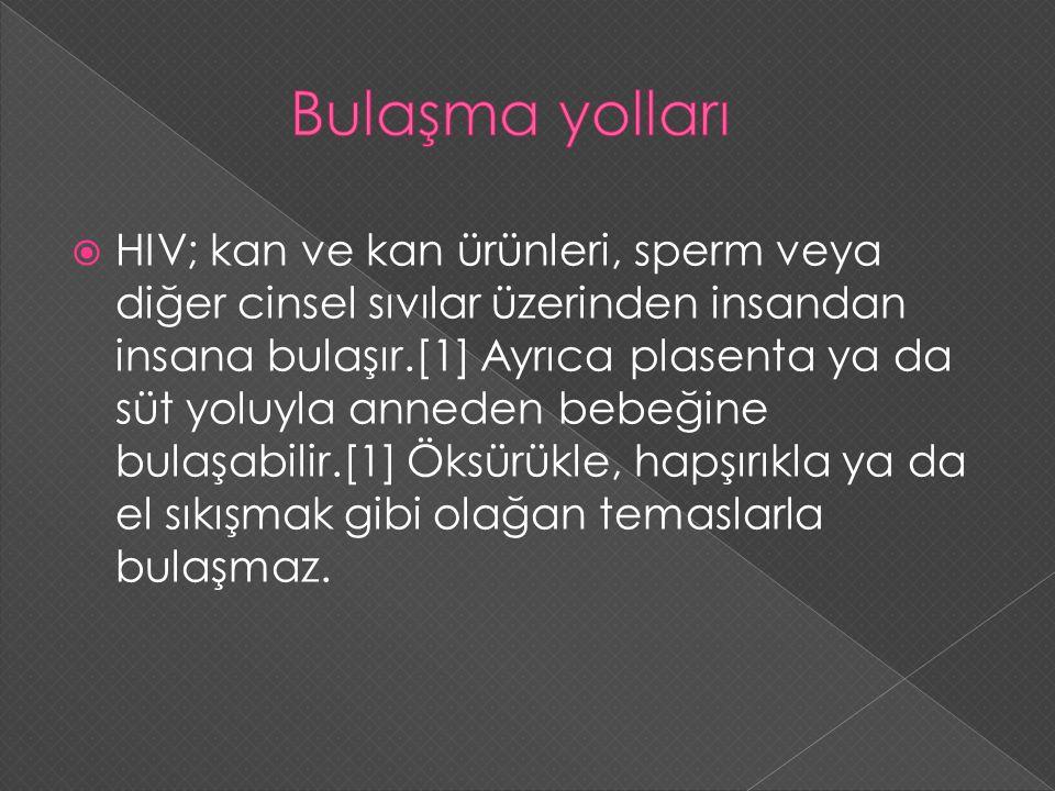  HIV; kan ve kan ürünleri, sperm veya diğer cinsel sıvılar üzerinden insandan insana bulaşır.[1] Ayrıca plasenta ya da süt yoluyla anneden bebeğine b