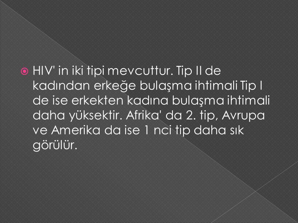  HIV' in iki tipi mevcuttur. Tip II de kadından erkeğe bulaşma ihtimali Tip I de ise erkekten kadına bulaşma ihtimali daha yüksektir. Afrika' da 2. t