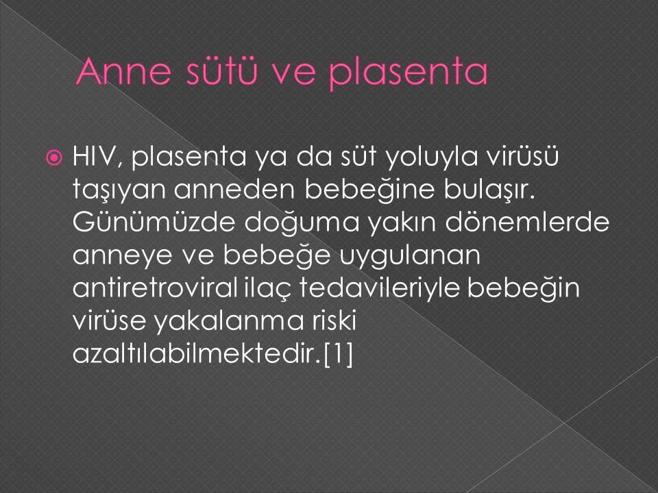  HIV, plasenta ya da süt yoluyla virüsü taşıyan anneden bebeğine bulaşır. Günümüzde doğuma yakın dönemlerde anneye ve bebeğe uygulanan antiretroviral