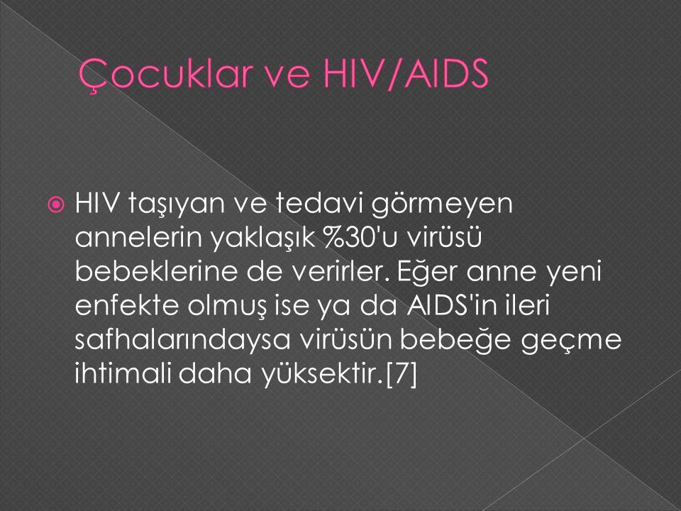  HIV taşıyan ve tedavi görmeyen annelerin yaklaşık %30'u virüsü bebeklerine de verirler. Eğer anne yeni enfekte olmuş ise ya da AIDS'in ileri safhala