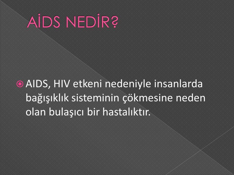  AIDS, HIV etkeni nedeniyle insanlarda bağışıklık sisteminin çökmesine neden olan bulaşıcı bir hastalıktır.