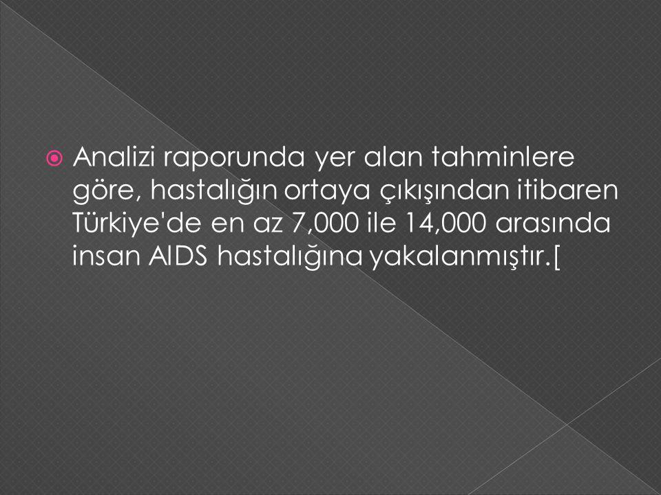 Analizi raporunda yer alan tahminlere göre, hastalığın ortaya çıkışından itibaren Türkiye'de en az 7,000 ile 14,000 arasında insan AIDS hastalığına