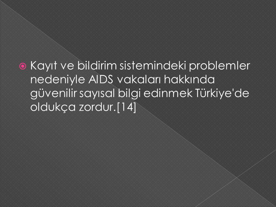  Kayıt ve bildirim sistemindeki problemler nedeniyle AIDS vakaları hakkında güvenilir sayısal bilgi edinmek Türkiye'de oldukça zordur.[14]