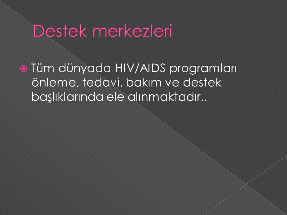  Tüm dünyada HIV/AIDS programları önleme, tedavi, bakım ve destek başlıklarında ele alınmaktadır..