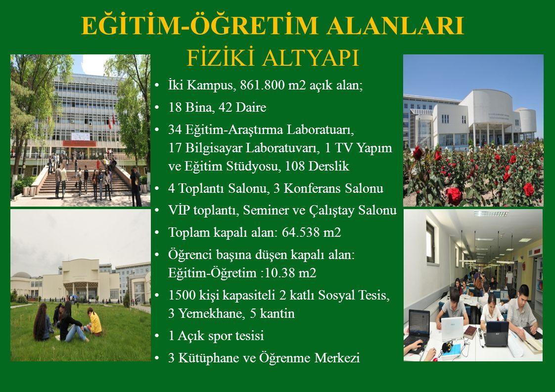 FİZİKİ ALTYAPI İki Kampus, 861.800 m2 açık alan; 18 Bina, 42 Daire 34 Eğitim-Araştırma Laboratuarı, 17 Bilgisayar Laboratuvarı, 1 TV Yapım ve Eğitim Stüdyosu, 108 Derslik 4 Toplantı Salonu, 3 Konferans Salonu VİP toplantı, Seminer ve Çalıştay Salonu Toplam kapalı alan: 64.538 m2 Öğrenci başına düşen kapalı alan: Eğitim-Öğretim :10.38 m2 1500 kişi kapasiteli 2 katlı Sosyal Tesis, 3 Yemekhane, 5 kantin 1 Açık spor tesisi 3 Kütüphane ve Öğrenme Merkezi EĞİTİM-ÖĞRETİM ALANLARI