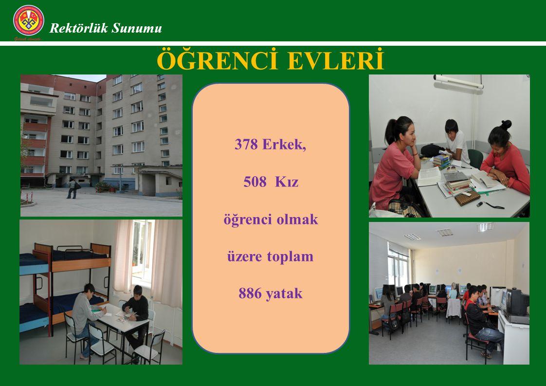ÖĞRENCİ EVLERİ Rektörlük Sunumu 378 Erkek, 508 Kız öğrenci olmak üzere toplam 886 yatak