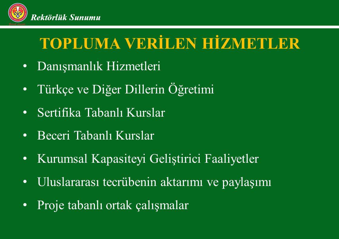 TOPLUMA VERİLEN HİZMETLER Rektörlük Sunumu Danışmanlık Hizmetleri Türkçe ve Diğer Dillerin Öğretimi Sertifika Tabanlı Kurslar Beceri Tabanlı Kurslar Kurumsal Kapasiteyi Geliştirici Faaliyetler Uluslararası tecrübenin aktarımı ve paylaşımı Proje tabanlı ortak çalışmalar