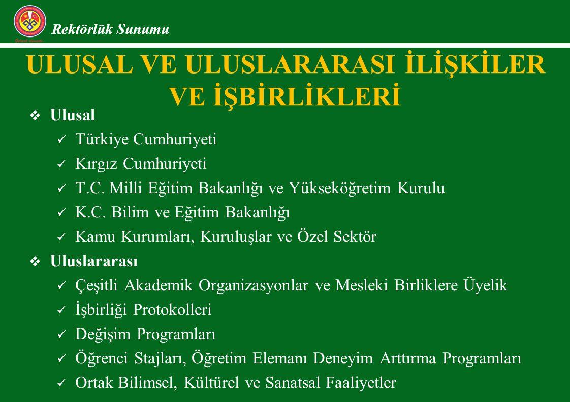 ULUSAL VE ULUSLARARASI İLİŞKİLER VE İŞBİRLİKLERİ Rektörlük Sunumu  Ulusal Türkiye Cumhuriyeti Kırgız Cumhuriyeti T.C. Milli Eğitim Bakanlığı ve Yükse