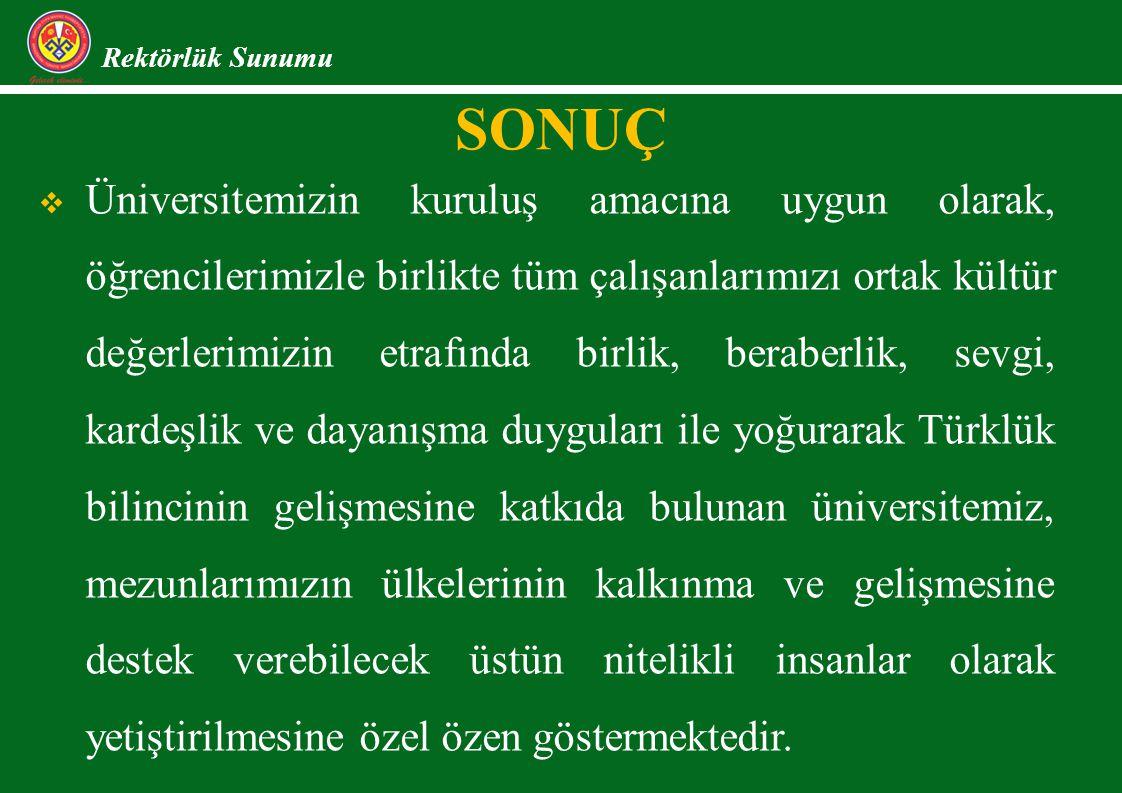 Rektörlük Sunumu SONUÇ  Üniversitemizin kuruluş amacına uygun olarak, öğrencilerimizle birlikte tüm çalışanlarımızı ortak kültür değerlerimizin etrafında birlik, beraberlik, sevgi, kardeşlik ve dayanışma duyguları ile yoğurarak Türklük bilincinin gelişmesine katkıda bulunan üniversitemiz, mezunlarımızın ülkelerinin kalkınma ve gelişmesine destek verebilecek üstün nitelikli insanlar olarak yetiştirilmesine özel özen göstermektedir.