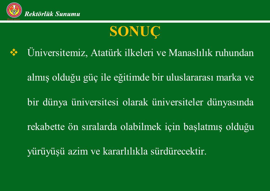 Rektörlük Sunumu   Üniversitemiz, Atatürk ilkeleri ve Manaslılık ruhundan almış olduğu güç ile eğitimde bir uluslararası marka ve bir dünya üniversitesi olarak üniversiteler dünyasında rekabette ön sıralarda olabilmek için başlatmış olduğu yürüyüşü azim ve kararlılıkla sürdürecektir.