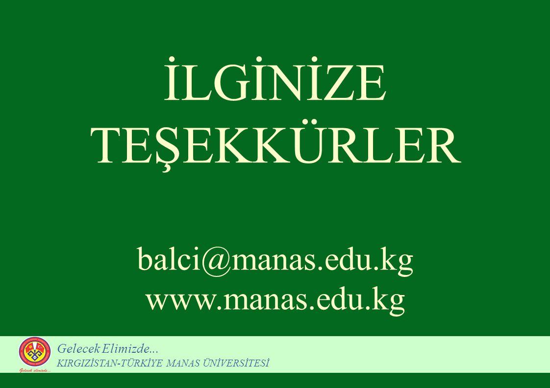 İLGİNİZE TEŞEKKÜRLER balci@manas.edu.kg www.manas.edu.kg Gelecek Elimizde... KIRGIZİSTAN-TÜRKİYE MANAS ÜNİVERSİTESİ