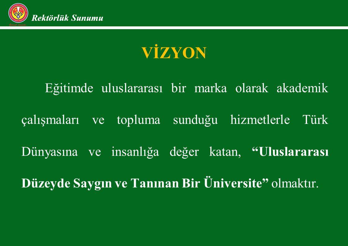 VİZYON Rektörlük Sunumu Eğitimde uluslararası bir marka olarak akademik çalışmaları ve topluma sunduğu hizmetlerle Türk Dünyasına ve insanlığa değer katan, Uluslararası Düzeyde Saygın ve Tanınan Bir Üniversite olmaktır.