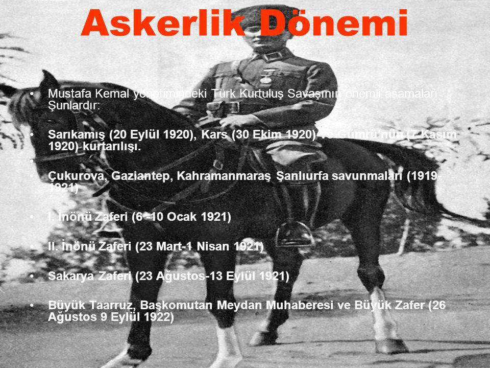 Mustafa Kemal yönetimindeki Türk Kurtuluş Savaşının önemli aşamaları Şunlardır: Sarıkamış (20 Eylül 1920), Kars (30 Ekim 1920) ve Gümrü'nün (7 Kasım 1