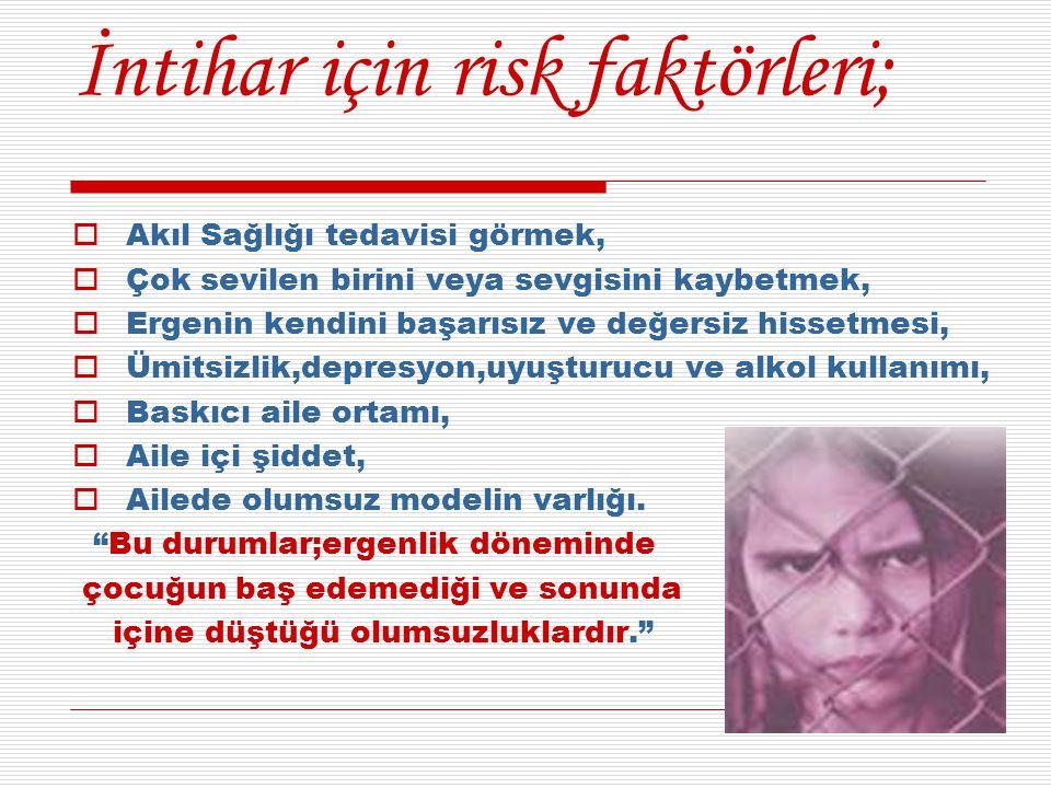 İntihar için risk faktörleri;  Akıl Sağlığı tedavisi görmek,  Çok sevilen birini veya sevgisini kaybetmek,  Ergenin kendini başarısız ve değersiz h