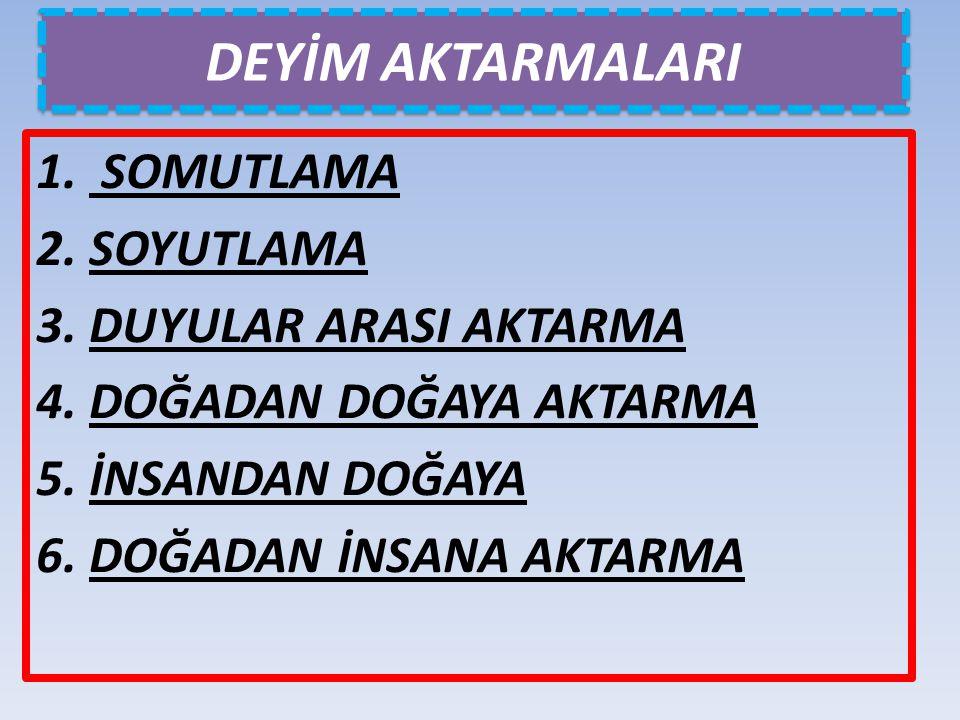 DEYİM AKTARMALARI 1. SOMUTLAMA 2. SOYUTLAMA 3. DUYULAR ARASI AKTARMA 4. DOĞADAN DOĞAYA AKTARMA 5. İNSANDAN DOĞAYA 6. DOĞADAN İNSANA AKTARMA