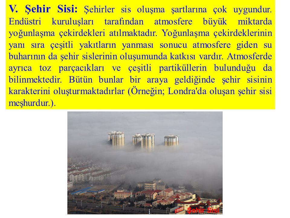 V. Şehir Sisi: Şehirler sis oluşma şartlarına çok uygundur. Endüstri kuruluşları tarafından atmosfere büyük miktarda yoğunlaşma çekirdekleri atılmakta