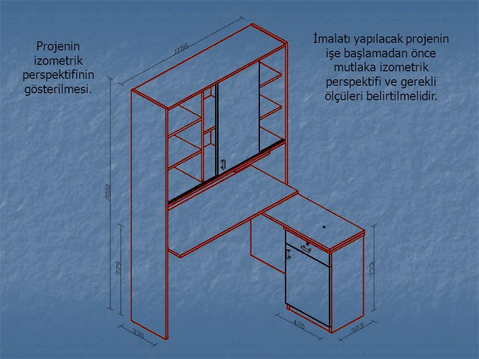 Projenin izometrik perspektifinin gösterilmesi. İmalatı yapılacak projenin işe başlamadan önce mutlaka izometrik perspektifi ve gerekli ölçüleri belir