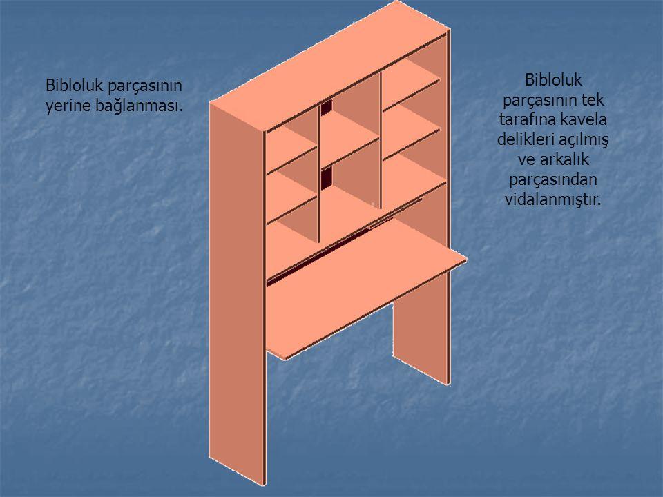 Bibloluk parçasının yerine bağlanması. Bibloluk parçasının tek tarafına kavela delikleri açılmış ve arkalık parçasından vidalanmıştır.