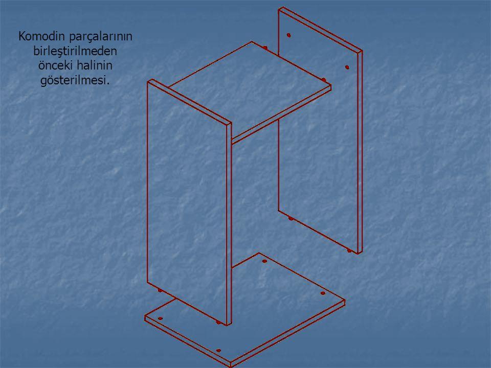 Komodin parçalarının birleştirilmeden önceki halinin gösterilmesi.