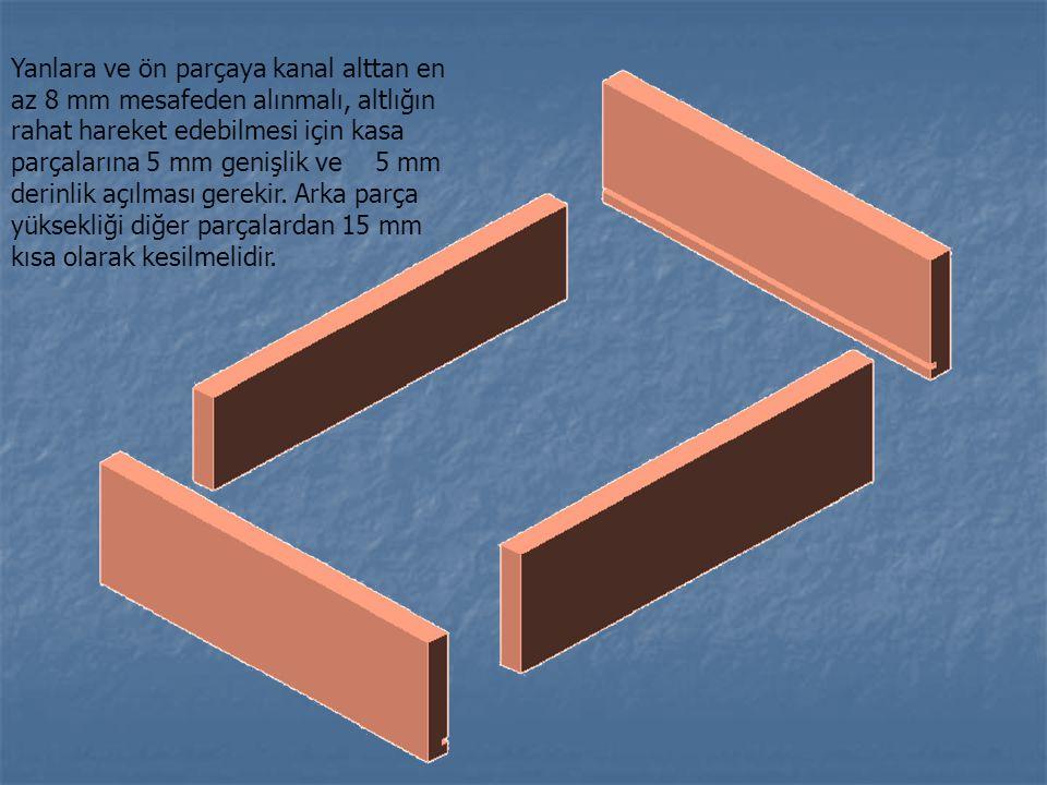 Yanlara ve ön parçaya kanal alttan en az 8 mm mesafeden alınmalı, altlığın rahat hareket edebilmesi için kasa parçalarına 5 mm genişlik ve 5 mm derinl