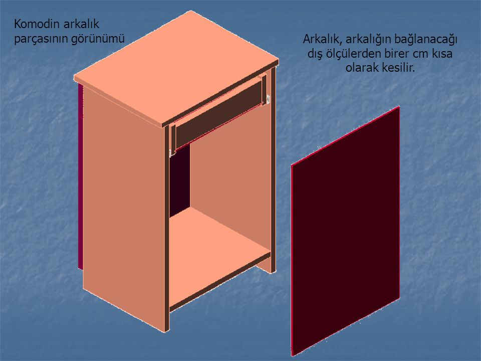 Komodin arkalık parçasının görünümü Arkalık, arkalığın bağlanacağı dış ölçülerden birer cm kısa olarak kesilir.