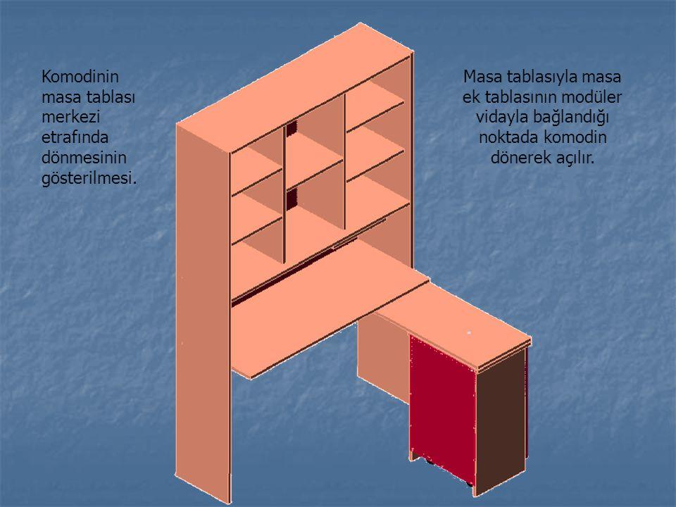 Komodinin masa tablası merkezi etrafında dönmesinin gösterilmesi. Masa tablasıyla masa ek tablasının modüler vidayla bağlandığı noktada komodin dönere