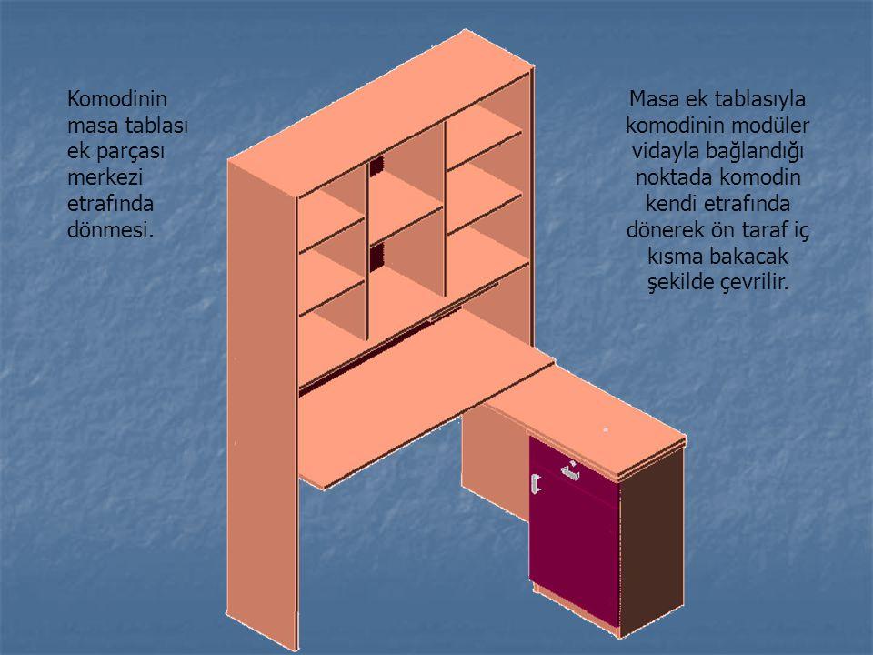 Komodinin masa tablası ek parçası merkezi etrafında dönmesi. Masa ek tablasıyla komodinin modüler vidayla bağlandığı noktada komodin kendi etrafında d